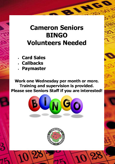 Bingo volunteers needed Oct 2018