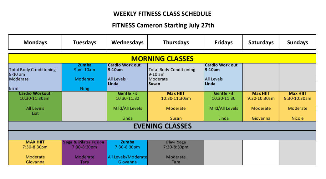 Fitness Schedule as at July 27, 2020
