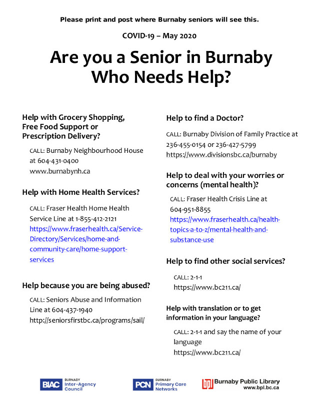 resources for seniors in burnaby